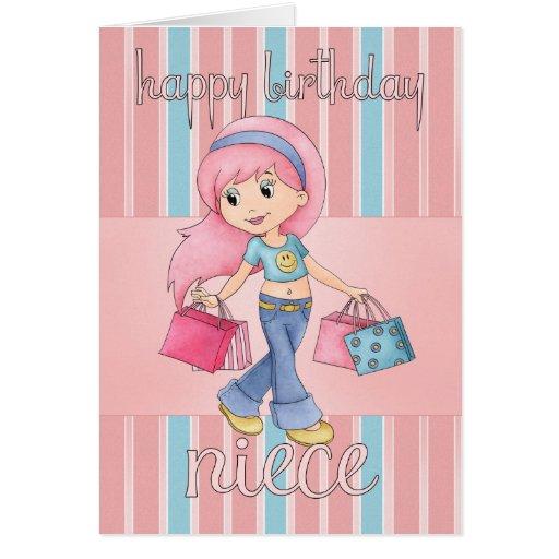 Tarjeta de cumpleaños de las compras de la sobrina