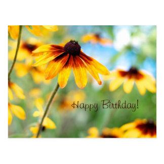 Tarjeta de cumpleaños de las flores postal