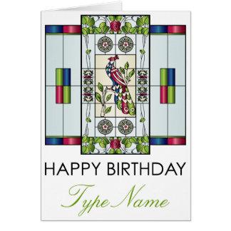 Tarjeta de cumpleaños de las gemas del vitral del
