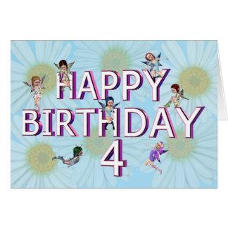 Tarjeta de cumpleaños de las hadas de la flor 4ta