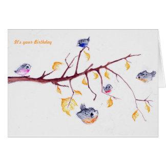 Tarjeta de cumpleaños de las hojas de otoño