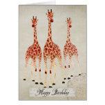 Tarjeta de cumpleaños de las jirafas del rosa rojo