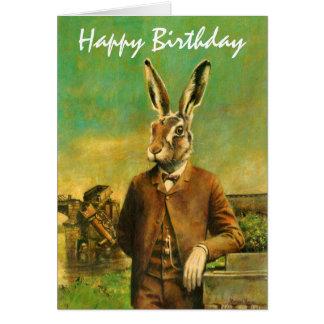 Tarjeta de cumpleaños de las liebres del Victorian