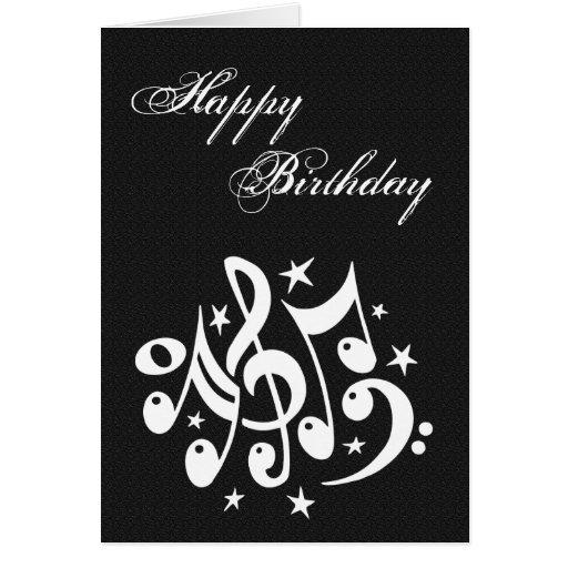 Tarjetas de cumpleaños con notas musicales - Imagui