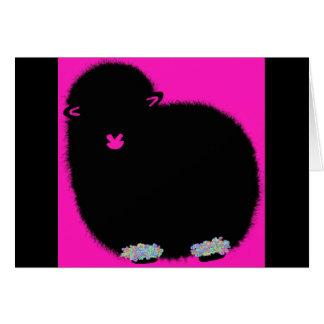Tarjeta de cumpleaños de las ovejas del rosa color