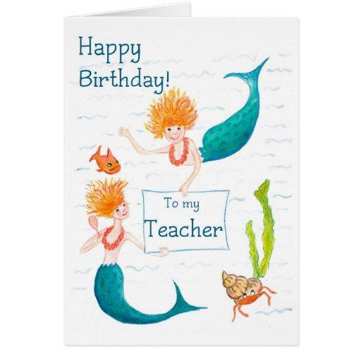 Tarjeta de cumpleaños de las sirenas para un profe