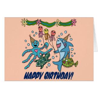 Tarjeta de cumpleaños de los animales del océano