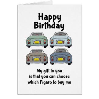 Tarjeta de cumpleaños de los coches de Nissan