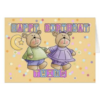 Tarjeta de cumpleaños de los gemelos - osos de pel