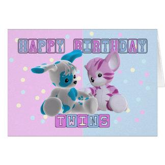 Tarjeta de cumpleaños de los gemelos - rosa y azul