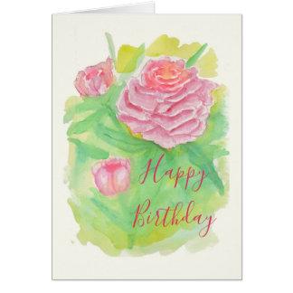 Tarjeta de cumpleaños de los Peonies de la