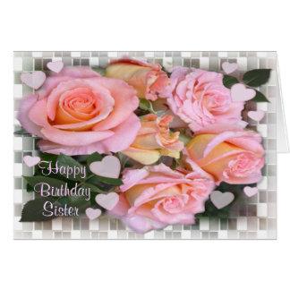 Tarjeta de cumpleaños de los rosas para la hermana