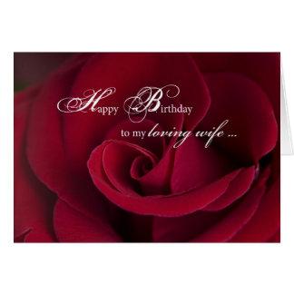 Tarjeta de cumpleaños de los rosas rojos para la e