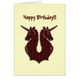 Tarjeta de cumpleaños de los unicornios del