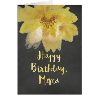 Tarjeta de cumpleaños de Mema de la flor de la