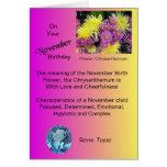 Tarjeta de cumpleaños de noviembre - crisantemo y
