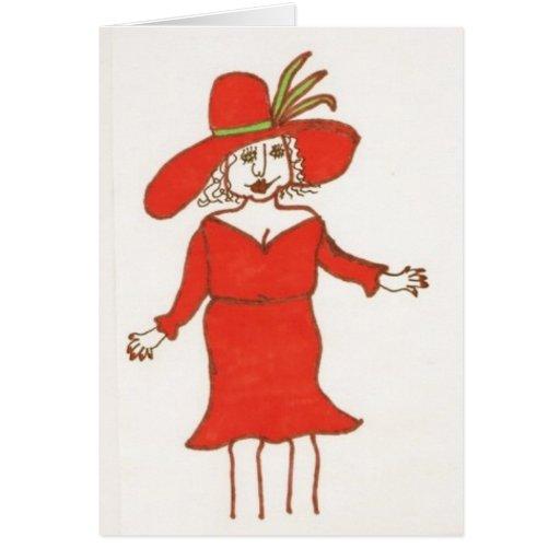 Tarjeta de cumpleaños de señora In Red