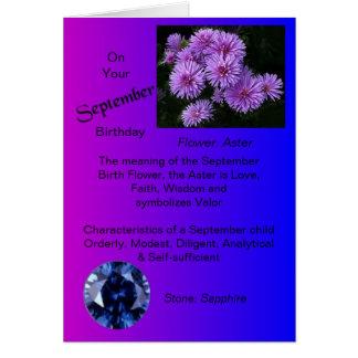Tarjeta de cumpleaños de septiembre - aster y