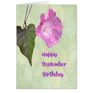 Tarjeta de cumpleaños de septiembre con correhuela