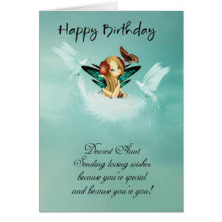 Tarjeta de cumpleaños de tía Fairy con las palomas