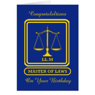 Tarjeta de cumpleaños del abogado LL M
