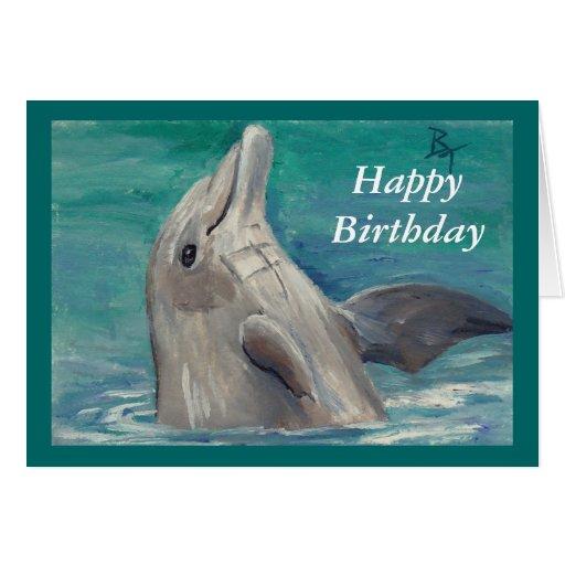 Tarjeta de cumpleaños del aceo del delfín | Zazzle