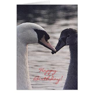 tarjeta de cumpleaños del adulto y del cisne del b