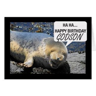 Tarjeta de cumpleaños del ahijado con cría de foca