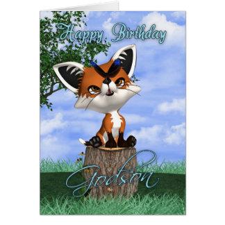 Tarjeta de cumpleaños del ahijado con el Fox lindo