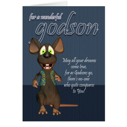 Tarjeta de cumpleaños del ahijado - con el ratón e