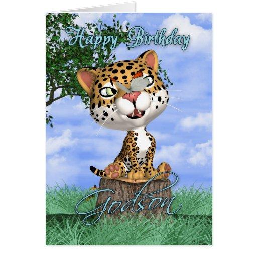 Tarjeta de cumpleaños del ahijado con Jaguar y But