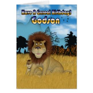 Tarjeta de cumpleaños del ahijado - león y Cub