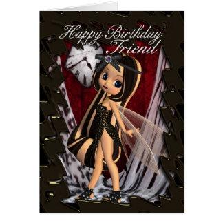 Tarjeta de cumpleaños del amigo con la hada gótica