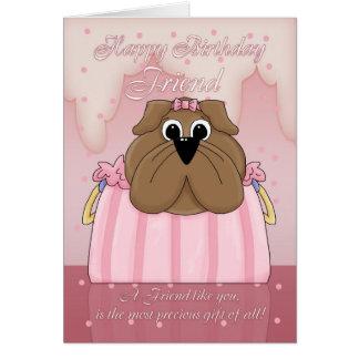 Tarjeta de cumpleaños del amigo - dogo lindo en un