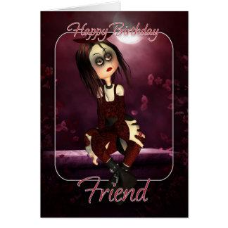 Tarjeta de cumpleaños del amigo - gótico de la muñ