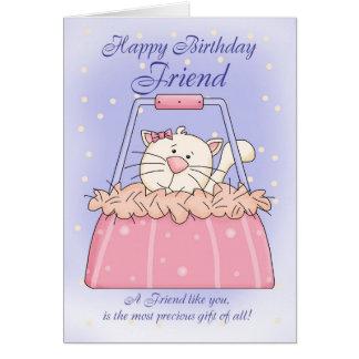 Tarjeta de cumpleaños del amigo - mascota lindo de