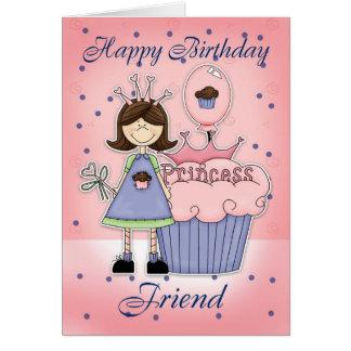 Tarjeta de cumpleaños del amigo - princesa de la m