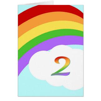 Tarjeta de cumpleaños del arco iris para 2 años