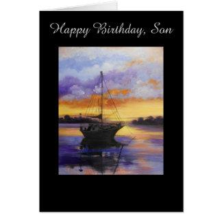 Tarjeta de cumpleaños del barco de vela para el