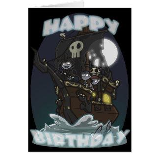 Tarjeta de cumpleaños del barco pirata de los