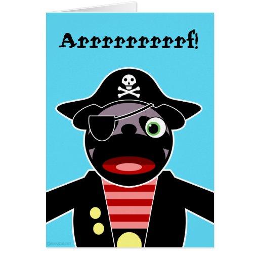 Tarjeta de cumpleaños del barro amasado del pirata