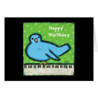 Tarjeta de cumpleaños del Bluebird/del piano