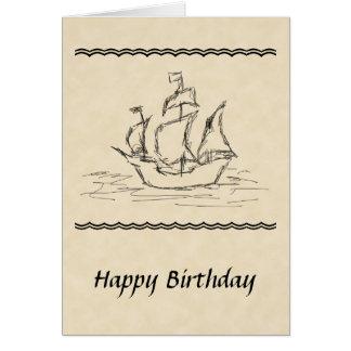 Tarjeta de cumpleaños del bosquejo del barco pirat