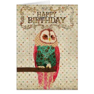 Tarjeta de cumpleaños del búho de Rosa