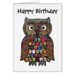 Tarjeta de cumpleaños del búho del remiendo