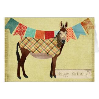 Tarjeta de cumpleaños del burro de la tela escoces