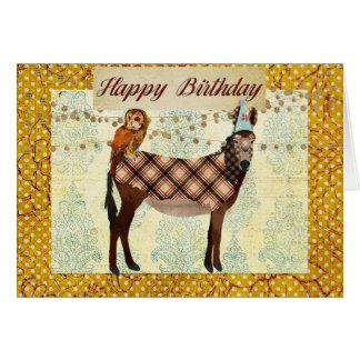 Tarjeta de cumpleaños del burro y del búho