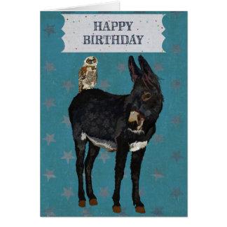 Tarjeta de cumpleaños del BURRO y del BÚHO del