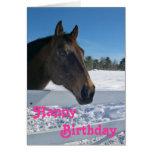 Tarjeta de cumpleaños del caballo del invierno par