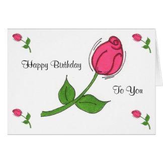 Tarjeta de cumpleaños del capullo de rosa
